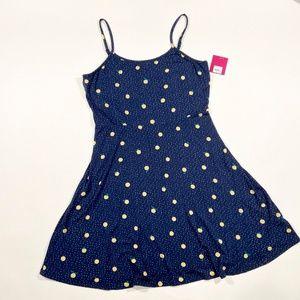 NWT Lemon Polka Dot Navy Summer Dress Size XXL